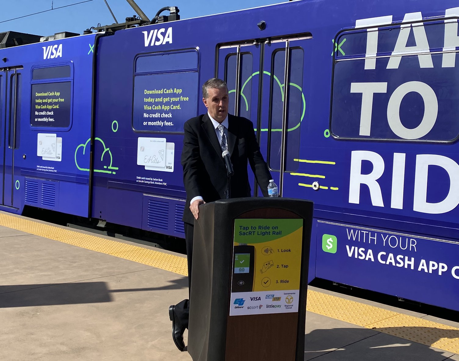 Brian Frank, GM North America Transit at the launch of 'Tap to Ride' in Sacramento.jpg