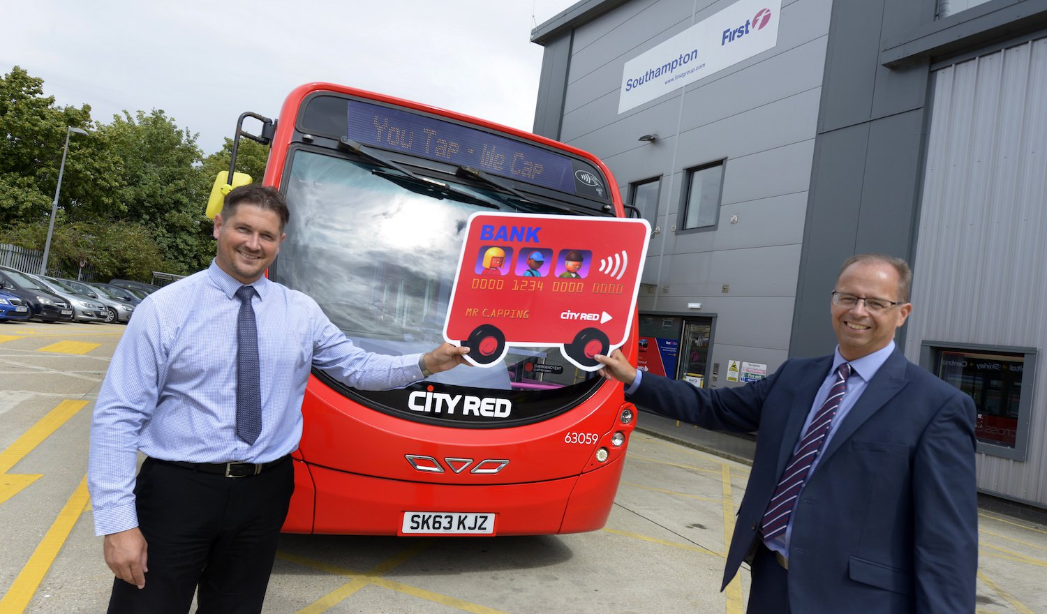 City Red Operations Manager Mark Lovell (L) and Managing Director Marc Reddy (R) mark the launch of Tap & Cap in Southampton